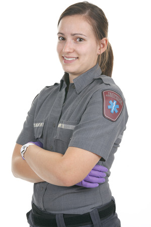 stabilization: Paramedic employee in the front of a white background