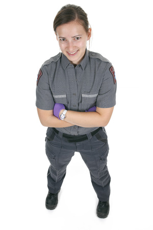 senseless: Paramedic employee in the front of a white background