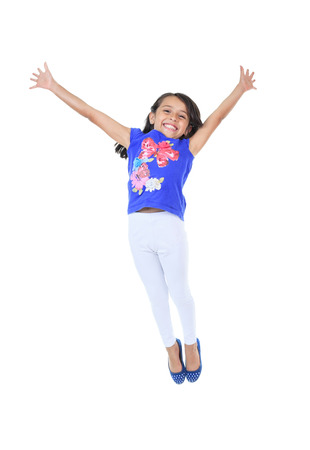 ambiguous: Columbian Little Girl Fun Look in front of a white background