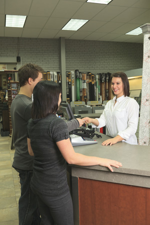 clerk: A home design shop with emploee clerk