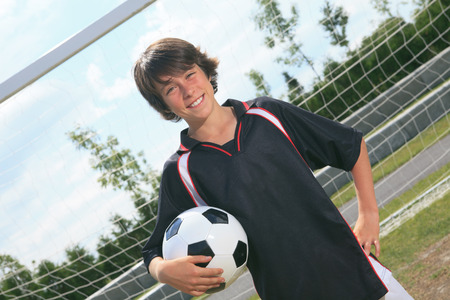 A soccer player on the play field.