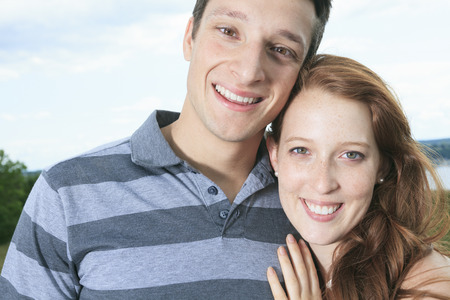 25 30 years old: A couple outside having fun together outside Stock Photo