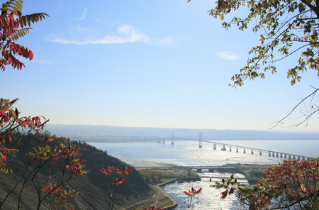 lawrence: Bridge across a river, Saint Lawrence River, Quebec, Canada Stock Photo