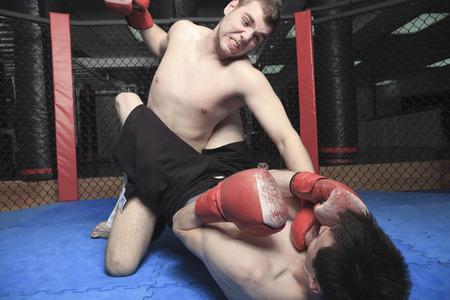 fighting arts: Athlete practice technique of fight fo a futur event Stock Photo