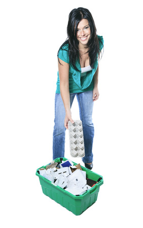 25 30 years: Young woman recycling wearing with green clothe Stock Photo
