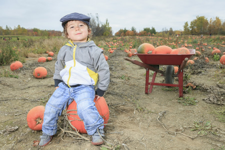 A Smiling toddler boy with pumpkin on cold autumn day