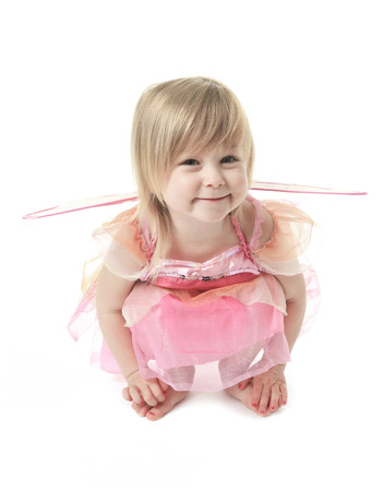artificial hair: Little girl in butterfly costume on white