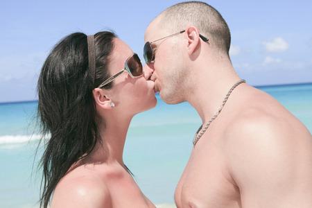 twenty two: A beautiful couple on a tropical beach cuba