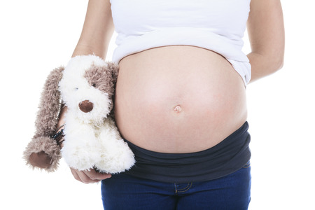 A pregnant woman caressing her belly over white Banco de Imagens - 36621676