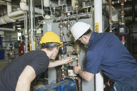 repairman engineer or inspector who check the system. Stockfoto