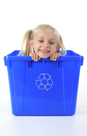 medium length: Recycling little girl