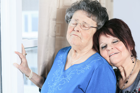 great grandmother: A senior grandmother with is daughter having great time in room