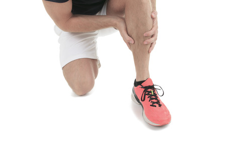 Running physical injury, leg muscle pain in studio