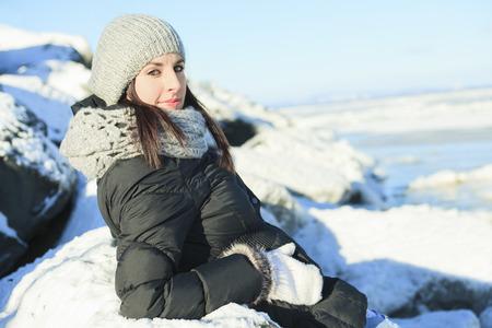 winter fashion: A woman portrait outside in winter season