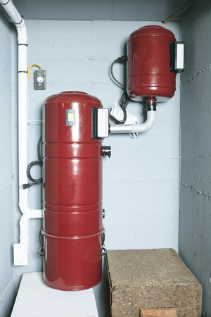 chiller: An red air cleaner system at home.