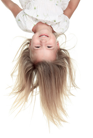upside down: Studio Portrait Of Young Girl upside down