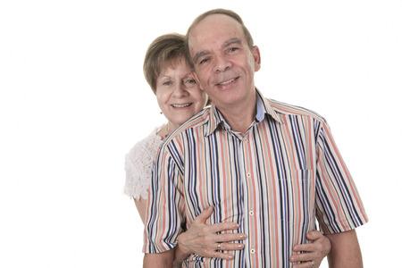 pareja casada: Pareja mayor aislado en un fondo blanco Foto de archivo