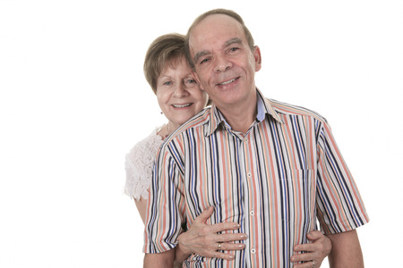 couple married: Senior Couple Isolated on a white Background