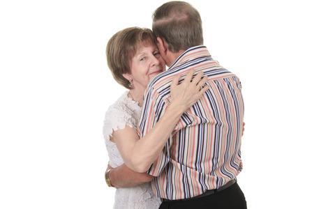 70 80 years: Senior Couple Isolated on a white Background