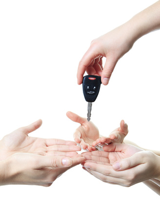 drink and drive: A hand give key to other person. if you drink dont drive Stock Photo