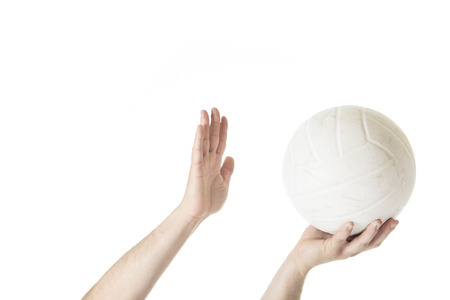 Volley: A volley ball player man doing serve in white background