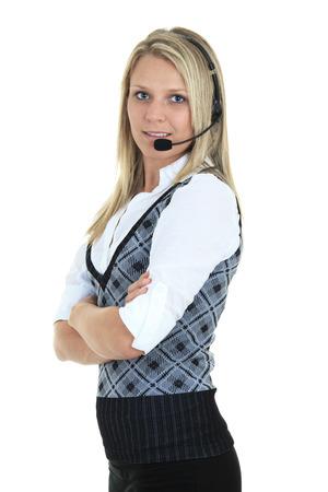 hot secretary: Beautiful blond business woman with headset. Stock Photo