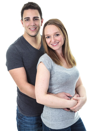 A Cute couple on studio white background photo