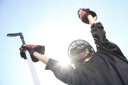 Un portrait de joueur de hockey balle avec un bâton de hockey Banque d'images
