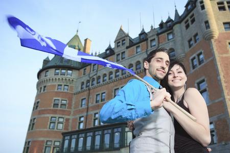personas abrazadas: Un par de filmación de la ciudad de Quebec