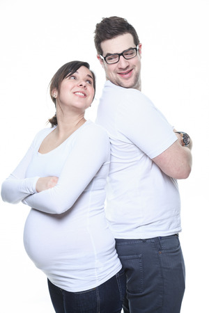 A Portrait of happy pregnant woman isolated over white background