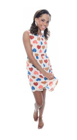 mulato: Un modelo mulato llevar con un vestido Coraz�n
