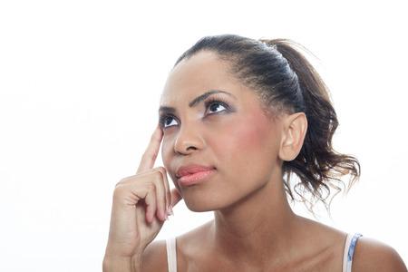 mulatto: A mulatto person having a thinking situation Stock Photo