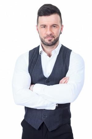 cross bar: A bar bouncer arm cross over a white background studio