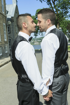 Portrait of a loving gay male couple on their wedding day. Banco de Imagens