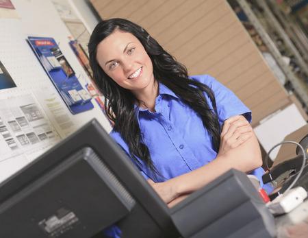 A clerk portrait in home appliance shop supermarket store photo