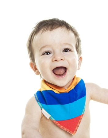 12 month old: A Studio Portrait Of Baby Boy  on studio white background.