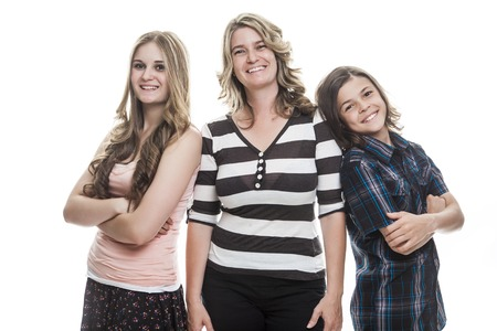 A Family portrait standing on white background