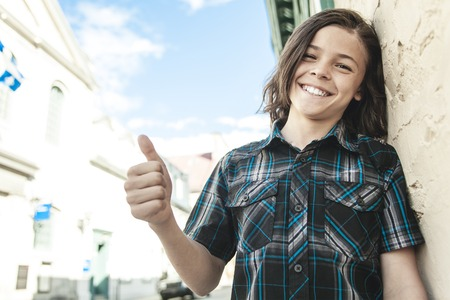 finger teen: A Portrait Of Young Smiling Teen Boy