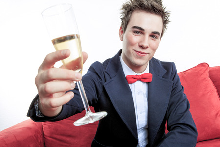 champain: men with champain on his hand Stock Photo