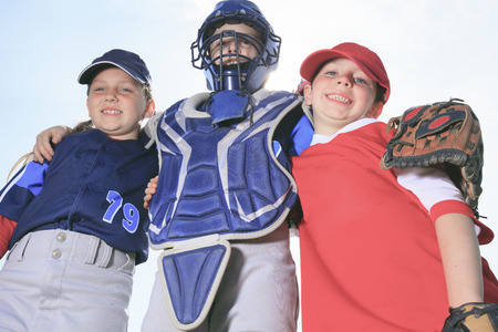 softball: A baseball child team on the field Stock Photo