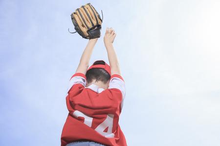 infield: A nice child happy to play baseball Stock Photo