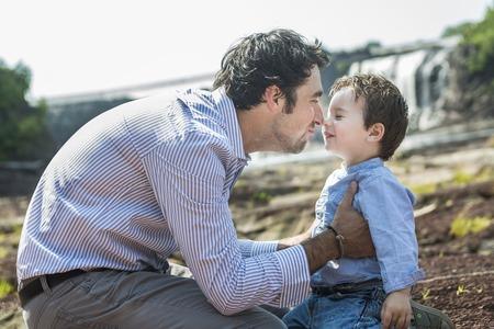 joy of life: An happy joyful father having fun with is child
