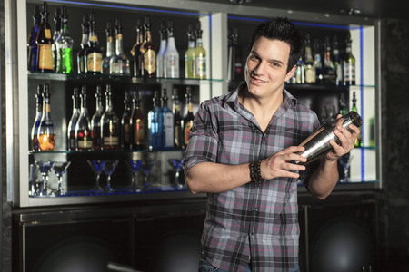 A waiter employee at a bar making a drink. Stok Fotoğraf - 42291928