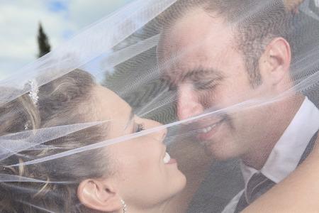 Eine Braut und Bräutigam Porträt der Tag der Hochzeit
