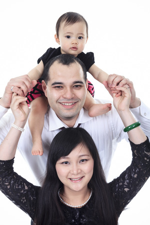 Asian family portrait in studio