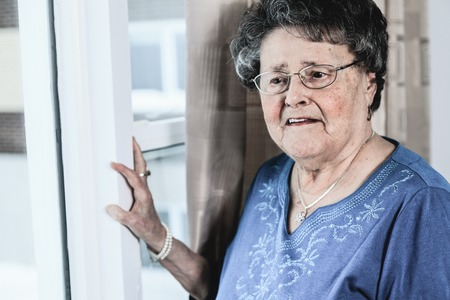 lonely woman: A lonely 90 years old grandmother in is apartment