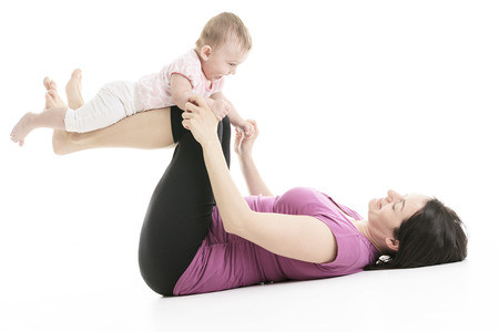 dearly: A mother and baby gymnastics, yoga exercises isolated on white background