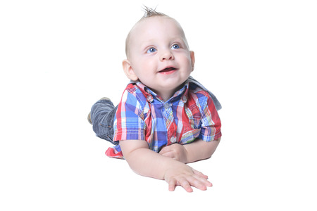 nappy new year: Happy Cute Baby Boy over white background