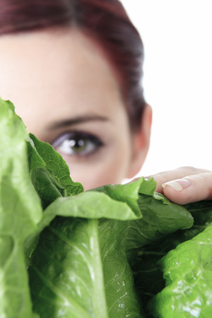 leaf vegetable: A eye who looking a green salad.