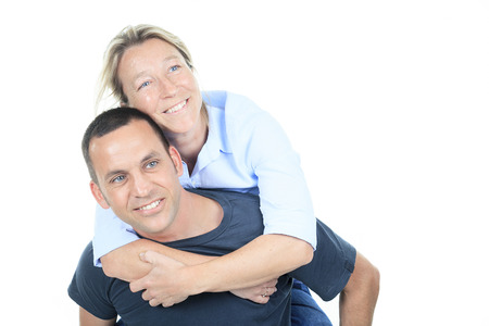 35 years old: A Thoughtful couple of 35 years old on piggy back.